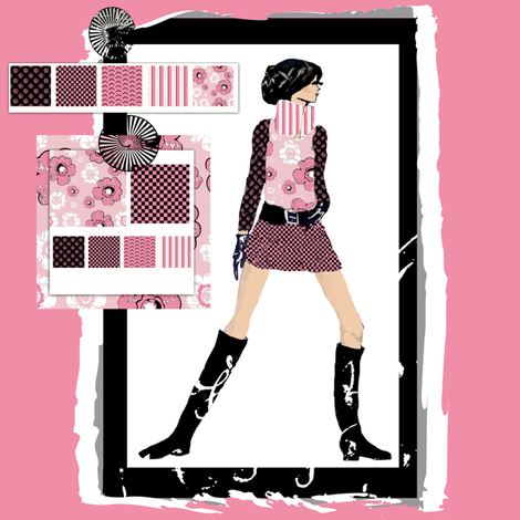 Fashion Illustration inspiration board fabric by karenharveycox on Spoonflower - custom fabric