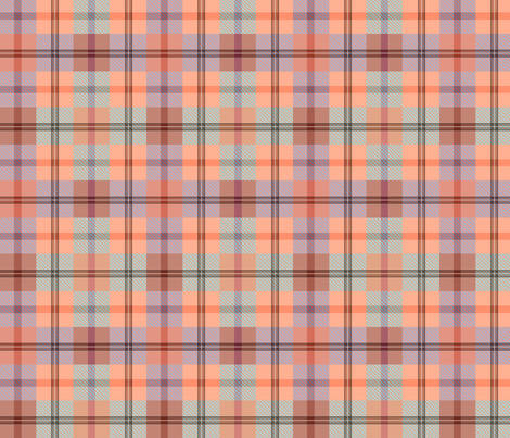 gingham plaid sea peach fabric by glimmericks on Spoonflower - custom fabric