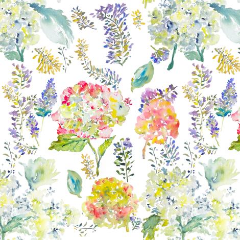 Hydrangea Garden fabric by susan_magdangal on Spoonflower - custom fabric