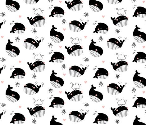 whales girls fabric by elinvanegmond on Spoonflower - custom fabric