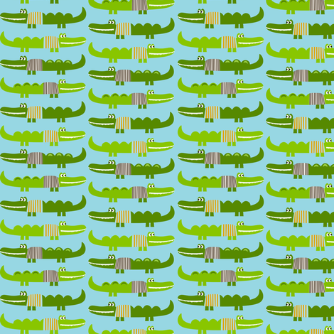Sweater Alligators in Aqua fabric by natitys on Spoonflower - custom fabric