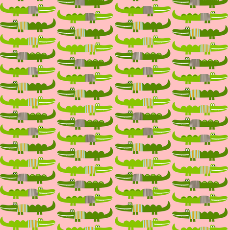 Sweater Alligators in Pink fabric by natitys on Spoonflower - custom fabric