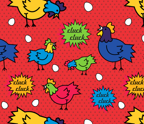 Pop Art Chicken  fabric by policunha on Spoonflower - custom fabric