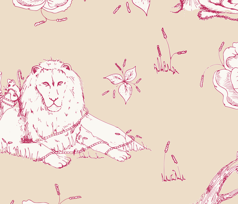 The Lion & The Mouse Beige/Red fabric by jonesyjones on Spoonflower - custom fabric