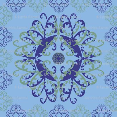Modern Mandala Dark Blue Light Blue