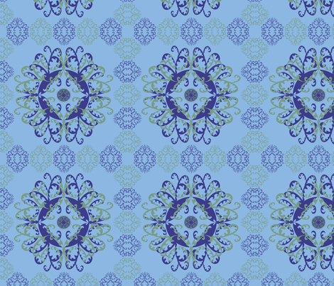 Modern Mandala Dark Blue Light Blue fabric by linda_santell on Spoonflower - custom fabric