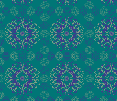 Modern Mandala Dark Blue Sea Green fabric by linda_santell on Spoonflower - custom fabric