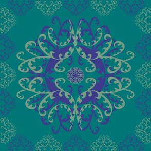 Modern Mandala Dark Blue Sea Green