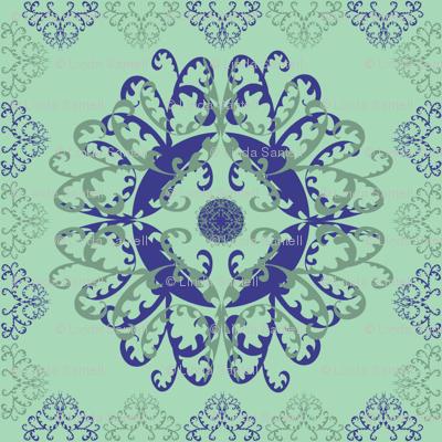 Modern Mandala Dark Blue Pale Green