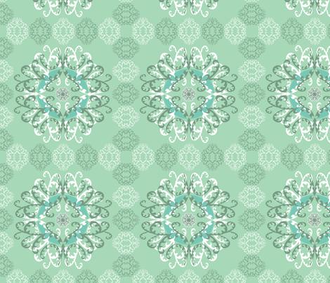 Modern Mandala White Green fabric by linda_santell on Spoonflower - custom fabric