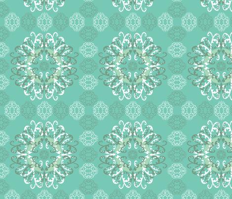 Modern Mandala White Teal fabric by linda_santell on Spoonflower - custom fabric