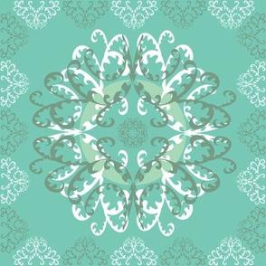 Modern Mandala White Teal