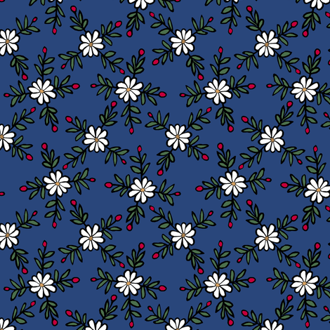 Blue Floral fabric by pond_ripple on Spoonflower - custom fabric