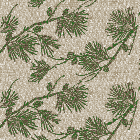 pine - green/silver  fabric by materialsgirl on Spoonflower - custom fabric