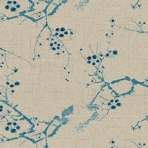 Cherry Blossom Time - blue ink, beige