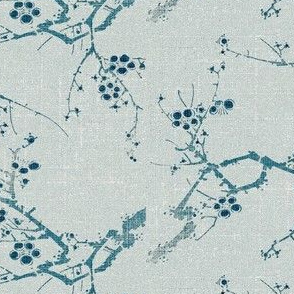 Cherry Blossom Time - blue ink and celadon