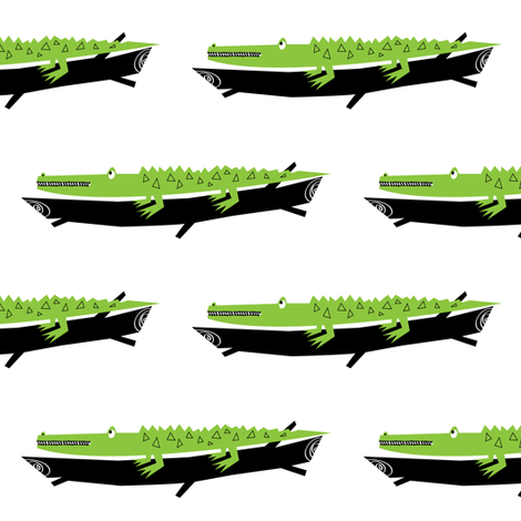 Crocodile.  fabric by halfpinthome on Spoonflower - custom fabric
