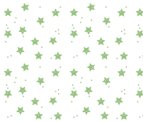 Happy Stars in Green. fabric by halfpinthome on Spoonflower - custom fabric