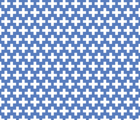 White cross on blue trellis fabric by little_fish on Spoonflower - custom fabric