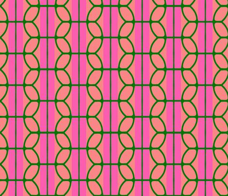 KB's B-Ball Stripes v2     -Pinks&Green fabric by fireflower on Spoonflower - custom fabric