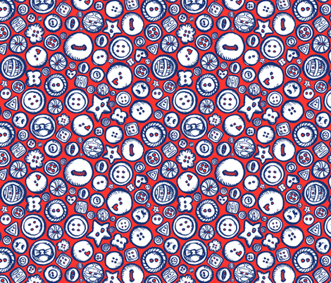 Buttons Up red fabric by loeff on Spoonflower - custom fabric