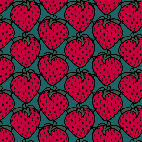 Strawberries fabric by pond_ripple on Spoonflower - custom fabric