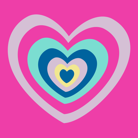 Big Rainbow Hearts ROCK! - Rock & Royalty  - © PinkSodaPop 4ComputerHeaven.com fabric by pinksodapop on Spoonflower - custom fabric
