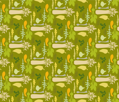 DeliciouslyLovely_green_gold fabric by brandbird on Spoonflower - custom fabric