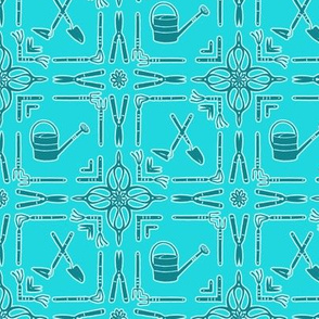 Vintage Garden Tools in Teal