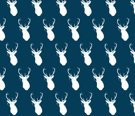 Smarty Pants Deer, Navy fabric by nicoleporter on Spoonflower - custom fabric