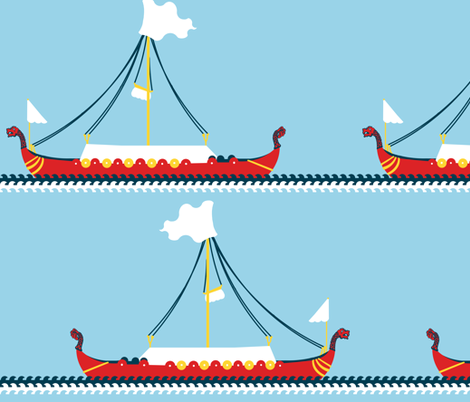 Sailing With the Vikings fabric by peacoquettedesigns on Spoonflower - custom fabric