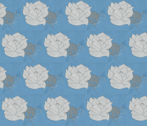 blue skull rose fabric by stephaniecroydon on Spoonflower - custom fabric