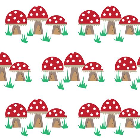 Mushroom Houses. fabric by halfpinthome on Spoonflower - custom fabric