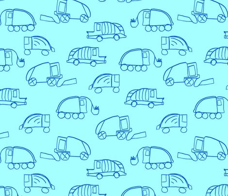LaraGeorgine_Garbage_Trucks_blue fabric by larageorgine on Spoonflower - custom fabric