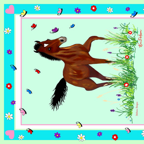 Foal_and_Butterflies_Quilt_top