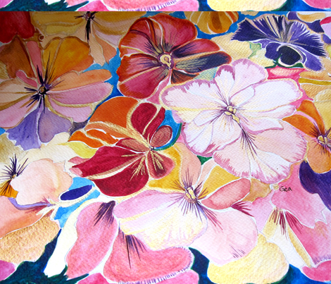 PANSIES_UNIQUE_3 fabric by geaausten on Spoonflower - custom fabric