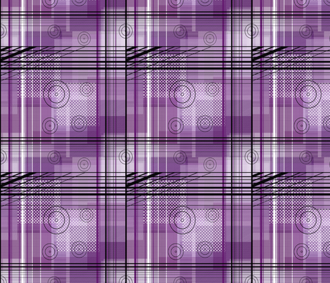 Purple and Pink Plaid Squares with Lines and Circles  fabric by barbie4364 on Spoonflower - custom fabric