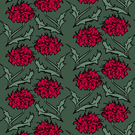 Red Floral fabric by pond_ripple on Spoonflower - custom fabric