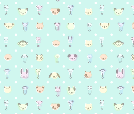 Vintage Baby Animal - Mint fabric by saecarr on Spoonflower - custom fabric