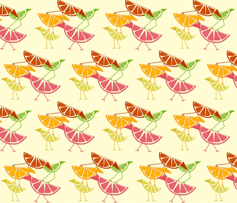 Citrus Birds!   fabric by lizhuff on Spoonflower - custom fabric