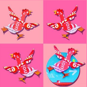 Pop chicken, pink