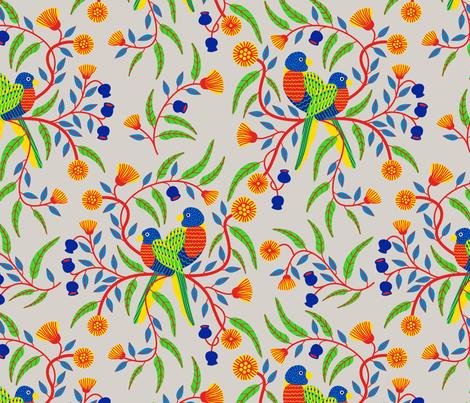 Rainbow Lorikeets fabric by yellowstudio on Spoonflower - custom fabric