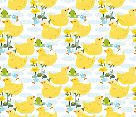 Swimming_in_the_lake fabric by alfabesi on Spoonflower - custom fabric