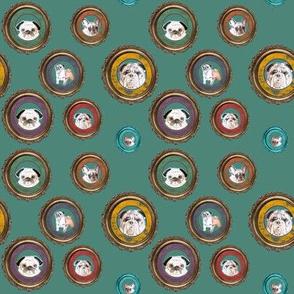 pug fabric - wall of pugs, french and english bulldos