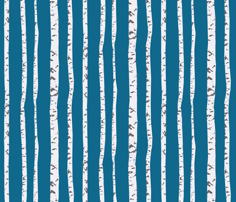 birch trees stripe blu fabric by katarina on Spoonflower - custom fabric