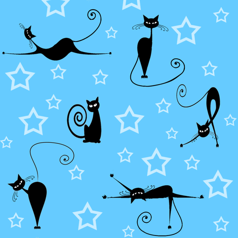 cats and stars  fabric by krs_expressions on Spoonflower - custom fabric
