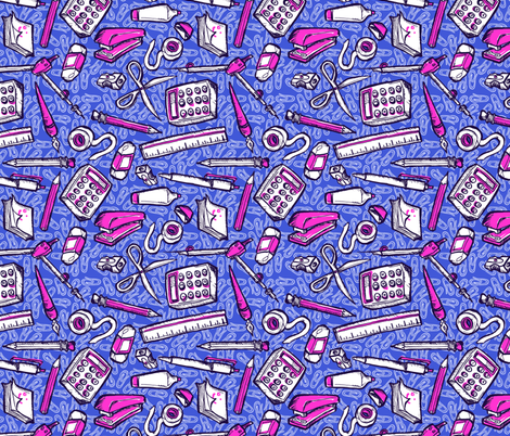 Busy Desk purple fabric by loeff on Spoonflower - custom fabric