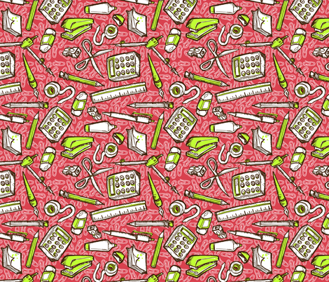 Busy Desk red fabric by loeff on Spoonflower - custom fabric