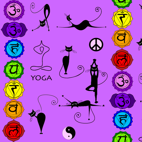 yoga cats fabric by krs_expressions on Spoonflower - custom fabric