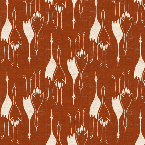 Cranes - terracotta and pale pink/white fabric by materialsgirl on Spoonflower - custom fabric